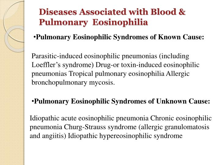 Diseases Associated with Blood & Pulmonary  Eosinophilia