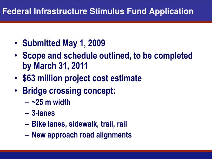 Federal infrastructure stimulus fund application