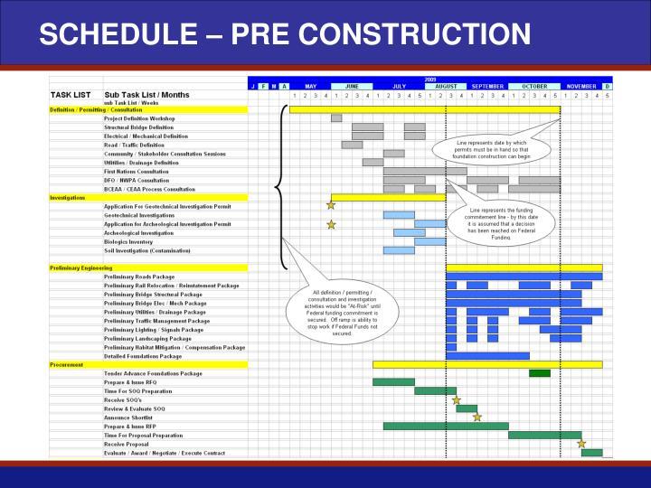 SCHEDULE – PRE CONSTRUCTION