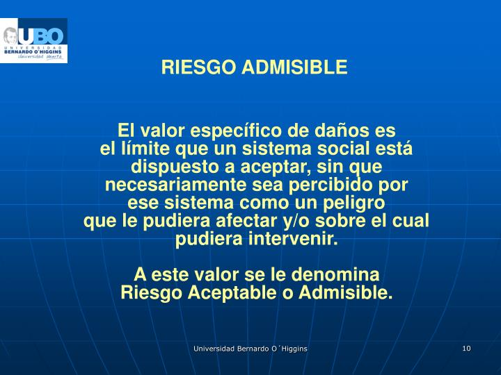 RIESGO ADMISIBLE