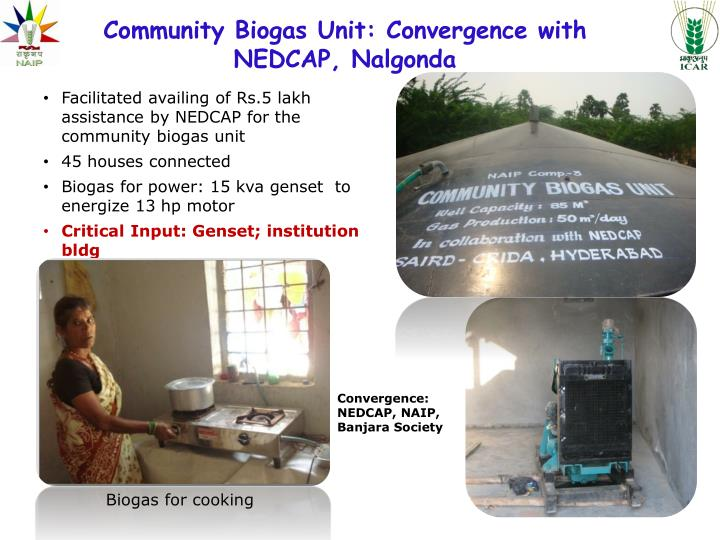 Community Biogas Unit: Convergence with NEDCAP, Nalgonda