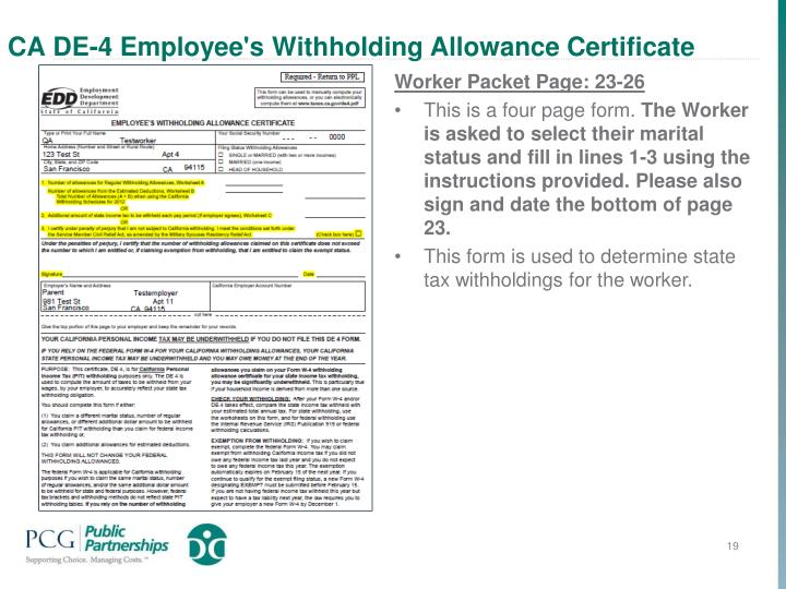 CA DE-4 Employee's Withholding Allowance Certificate