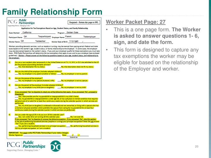 Family Relationship Form