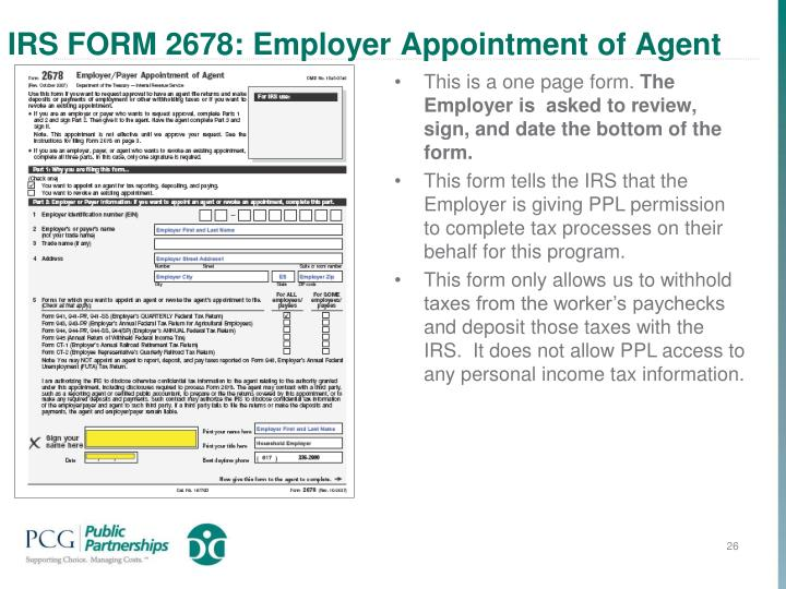 IRS FORM 2678: Employer Appointment of Agent