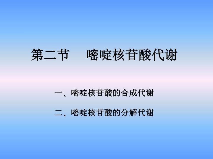 第二节     嘧啶核苷酸代谢