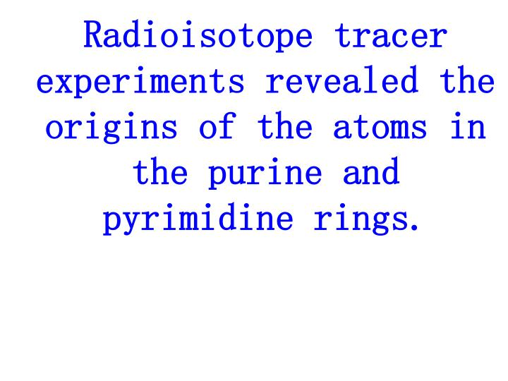 Radioisotope tracer experiments revealed the origins of the atoms in the purine and pyrimidine rings.