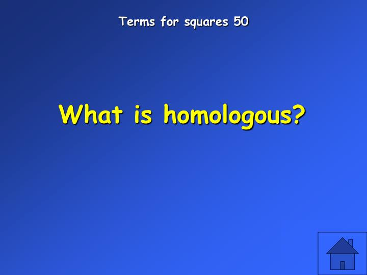 Terms for squares 50