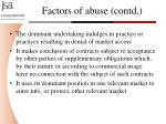 factors of abuse contd