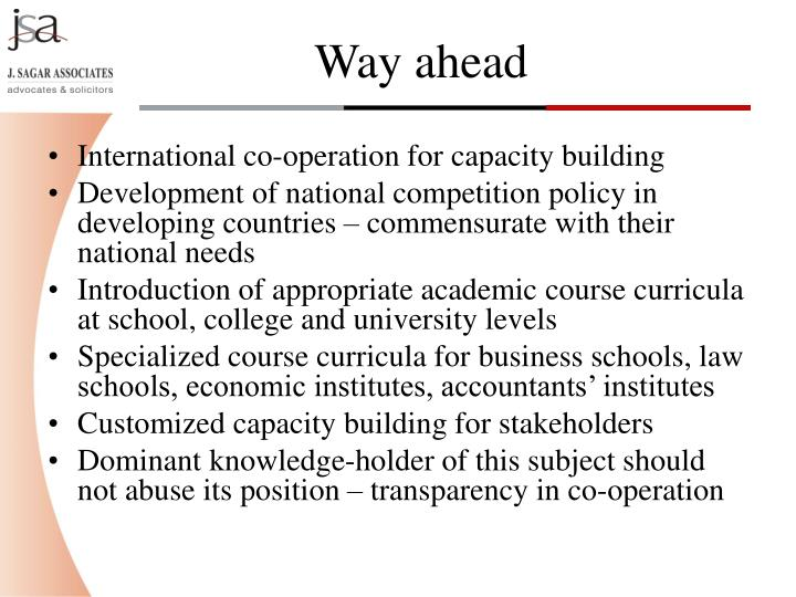 International co-operation for capacity building