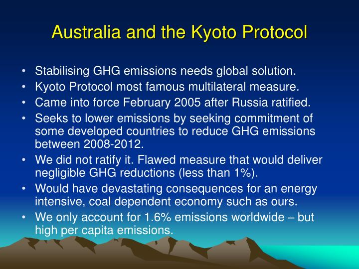 an analysis of the kyoto protocol in australia An evaluation of business implications of  russia and australia  prospects for the kyoto protocol and an analysis of the present and future position of the us.