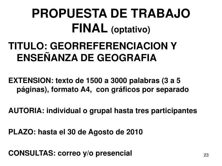 PROPUESTA DE TRABAJO FINAL