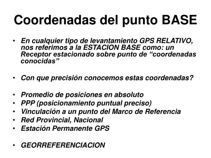 Coordenadas del punto BASE