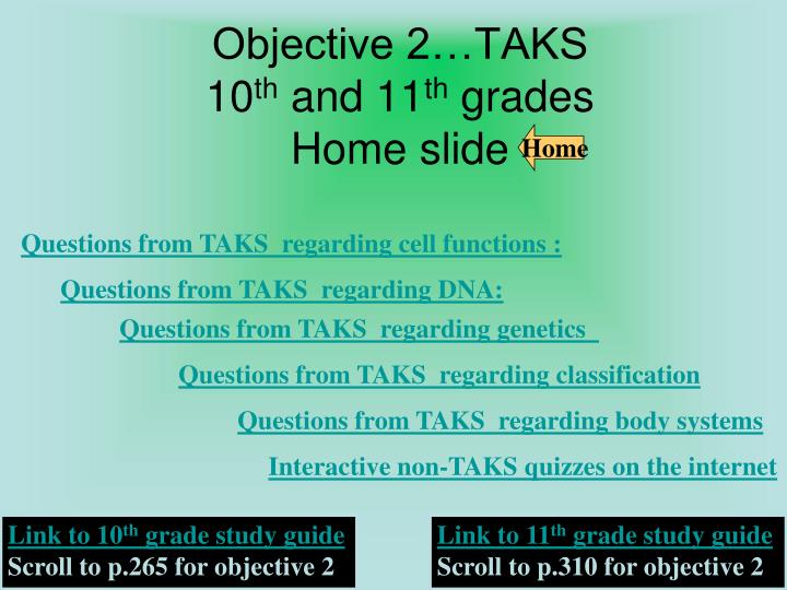Objective 2 taks 10 th and 11 th grades home slide