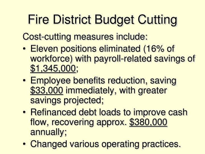 Fire District Budget Cutting