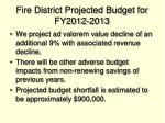 fire district projected budget for fy2012 2013