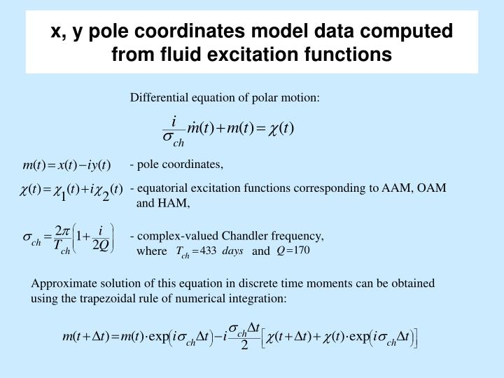 X y pole coordinates model data computed from fluid excitation functions