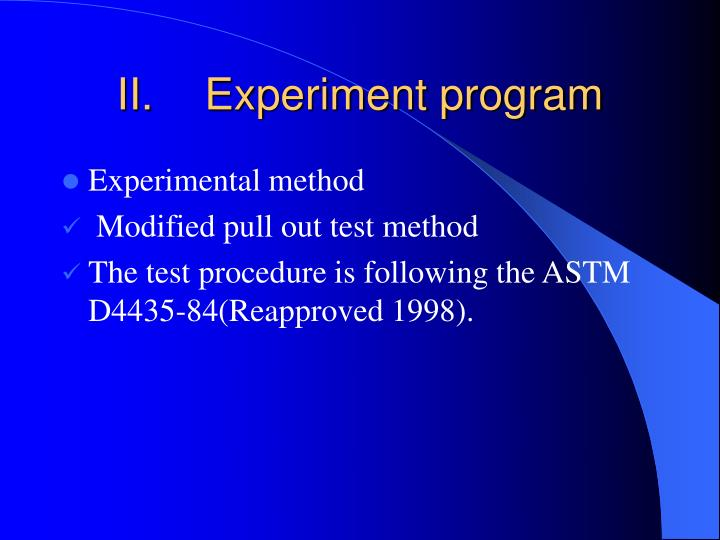 Experiment program
