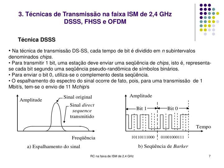 3. Técnicas de Transmissão na faixa ISM de 2,4 GHz