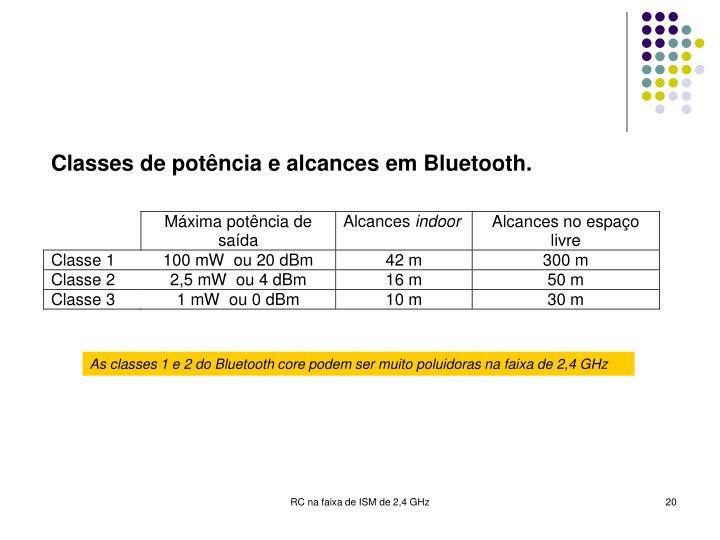 As classes 1 e 2 do Bluetooth core podem ser muito poluidoras na faixa de 2,4 GHz