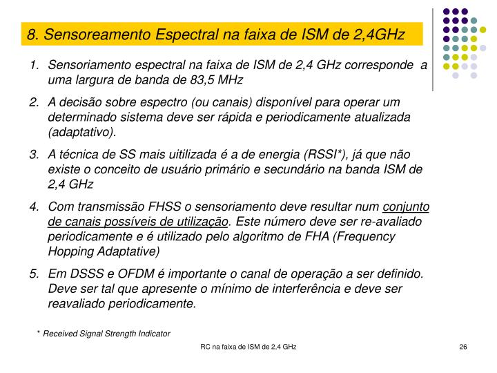 8. Sensoreamento Espectral na faixa de ISM de 2,4GHz
