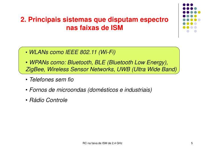 2. Principais sistemas que disputam espectro nas faixas de ISM