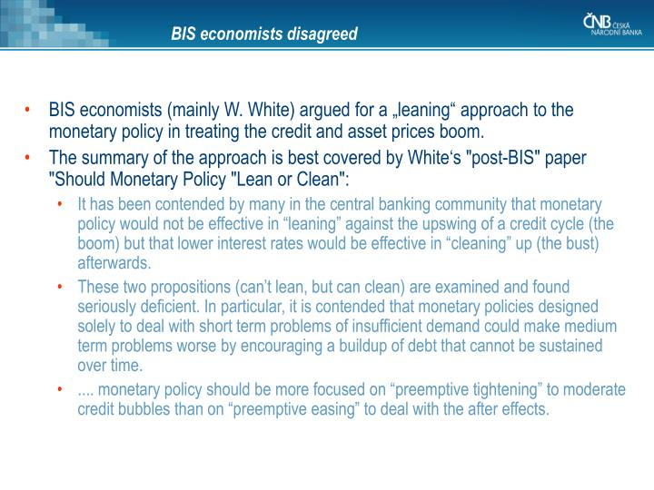 BIS economists disagreed