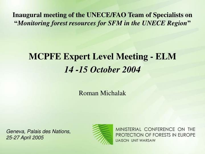Inaugural meeting of the UNECE/FAO Team of Specialists on