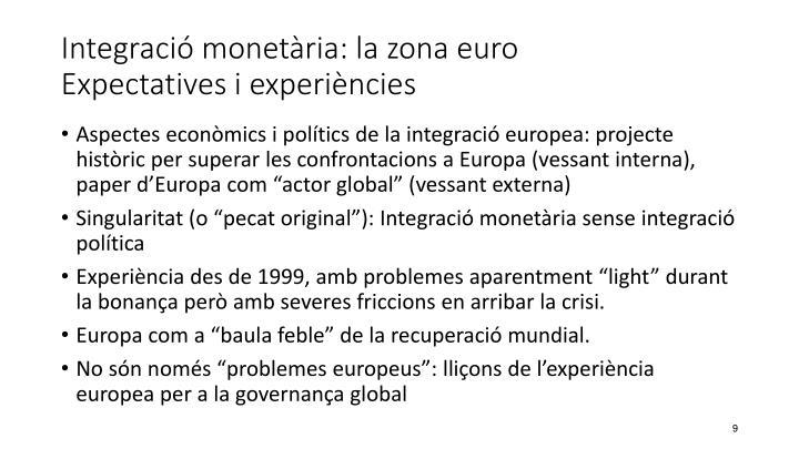 Integració monetària: la zona euro