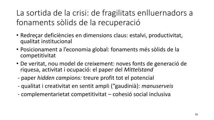 La sortida de la crisi: de fragilitats enlluernadors a fonaments sòlids de la recuperació