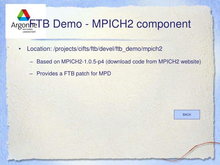 FTB Demo - MPICH2 component