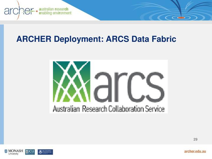 ARCHER Deployment: ARCS Data Fabric