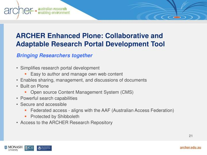 ARCHER Enhanced Plone: Collaborative and Adaptable Research Portal Development Tool