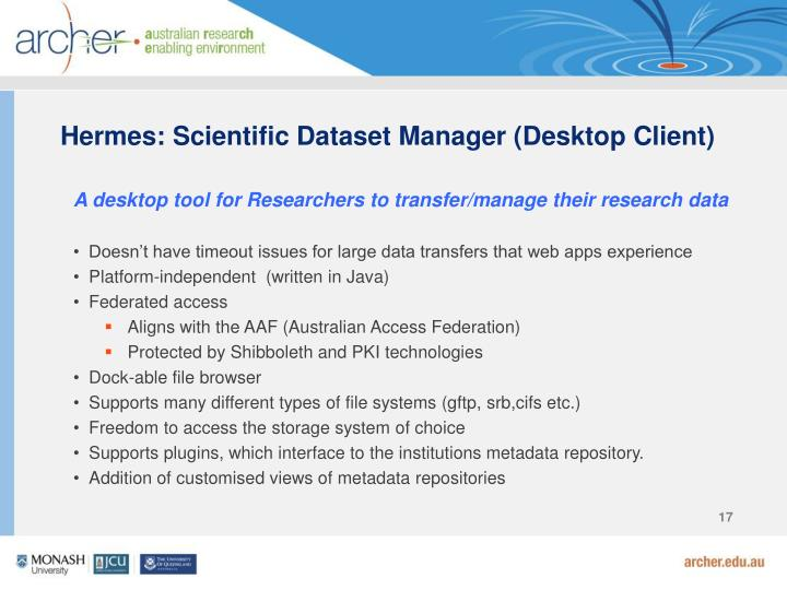 Hermes: Scientific Dataset Manager (Desktop Client)