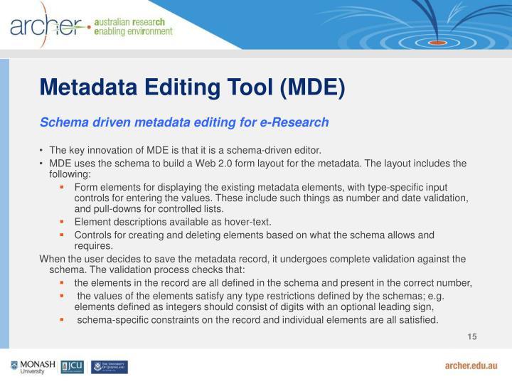 Metadata Editing Tool (MDE)