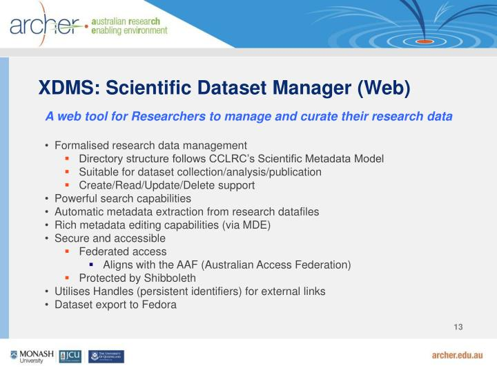 XDMS: Scientific Dataset Manager (Web)