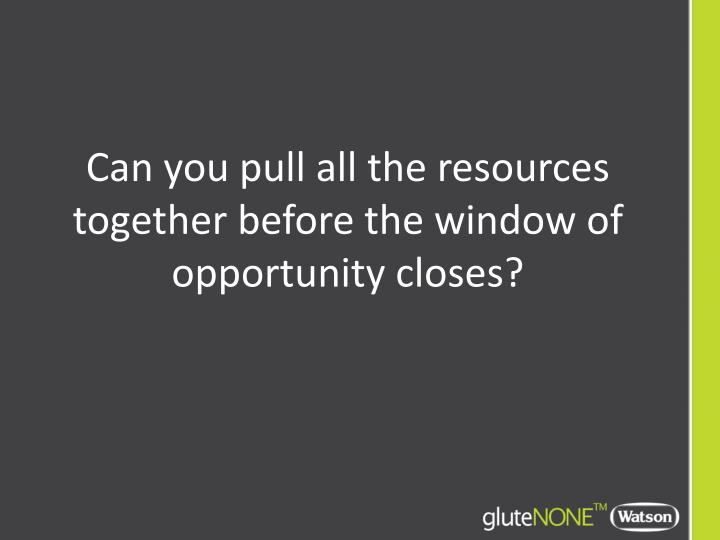 Can you pull all the resources together before the window of opportunity closes?