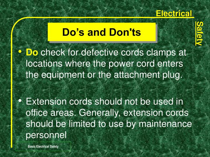 Do's and Don'ts