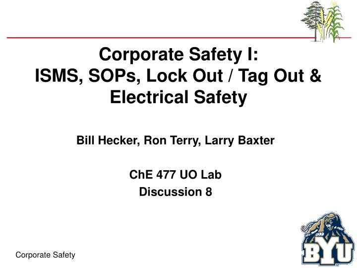 Corporate safety i isms sops lock out tag out electrical safety