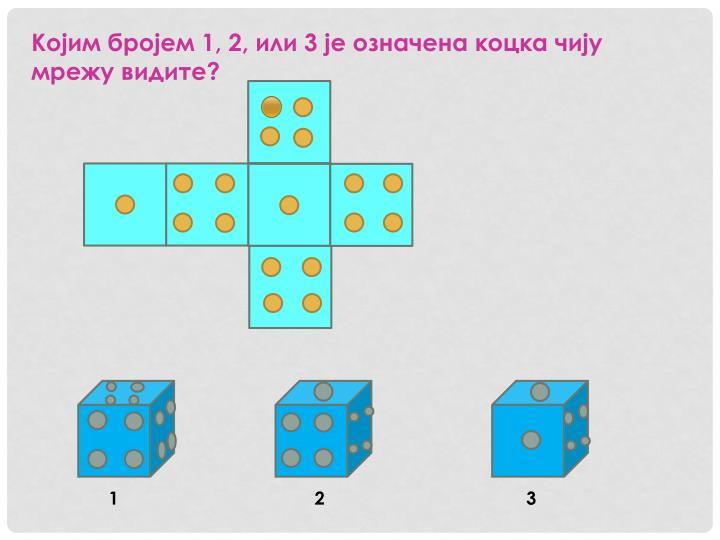 Којим бројем 1, 2, или 3 је означена коцка чију мрежу видите?