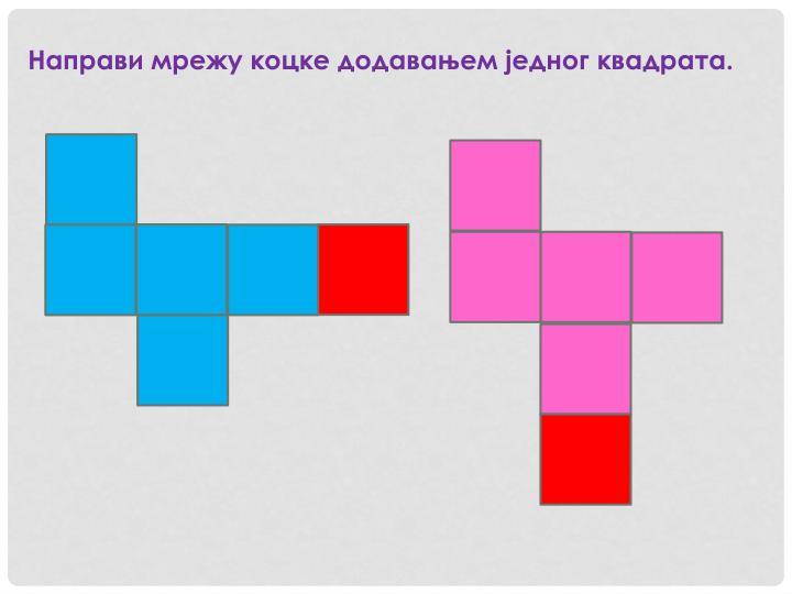 Направи мрежу коцке додавањем једног квадрата.