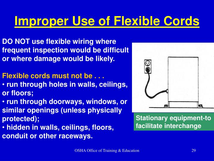 Improper Use of Flexible Cords