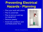 preventing electrical hazards planning