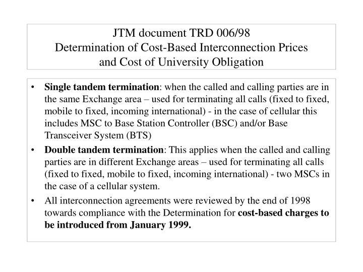 JTM document TRD 006/98