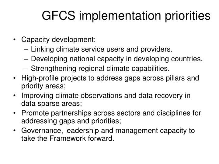 GFCS implementation priorities