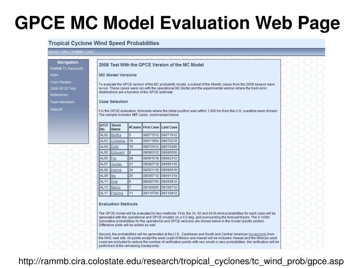 GPCE MC Model Evaluation Web Page