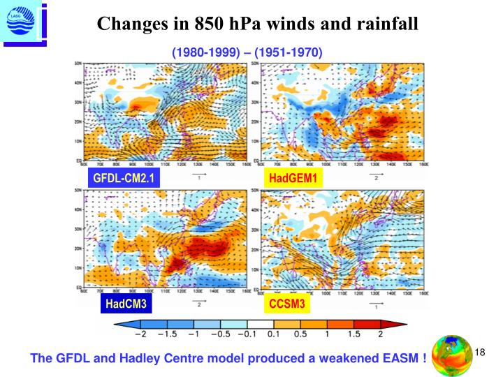 Changes in 850 hPa winds and rainfall