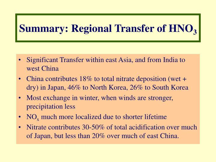 Summary: Regional Transfer of HNO