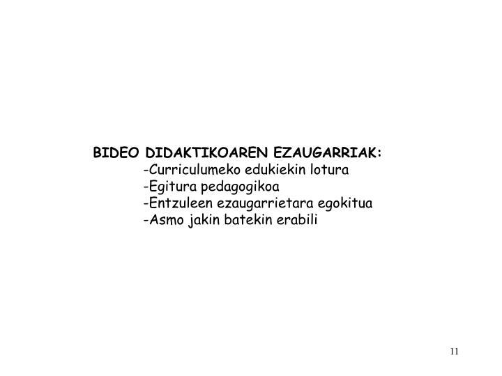 BIDEO DIDAKTIKOAREN EZAUGARRIAK: