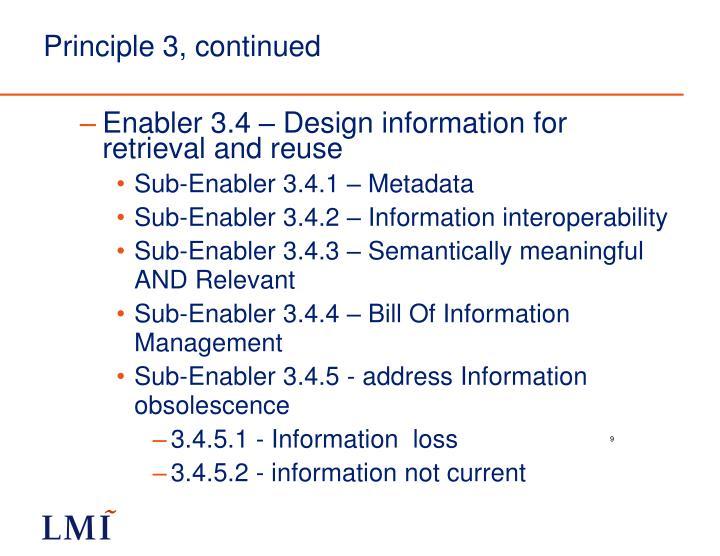 Principle 3, continued