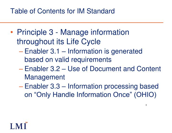 Table of Contents for IM Standard